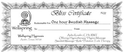 gift certificate for Austin Massage